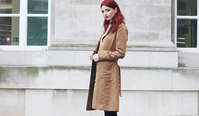 С чем носить замшевое пальто: стильные образы