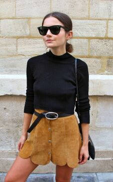 Замшевая юбка: с чем носить модели карандаш, солнце и трапеция