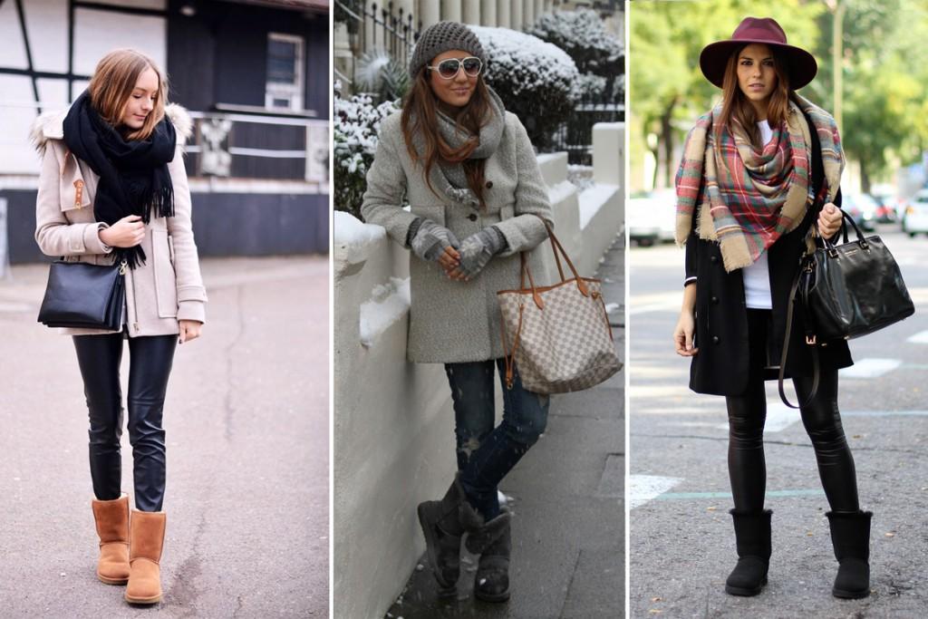 Угги с пальто, джинсами и шарфом