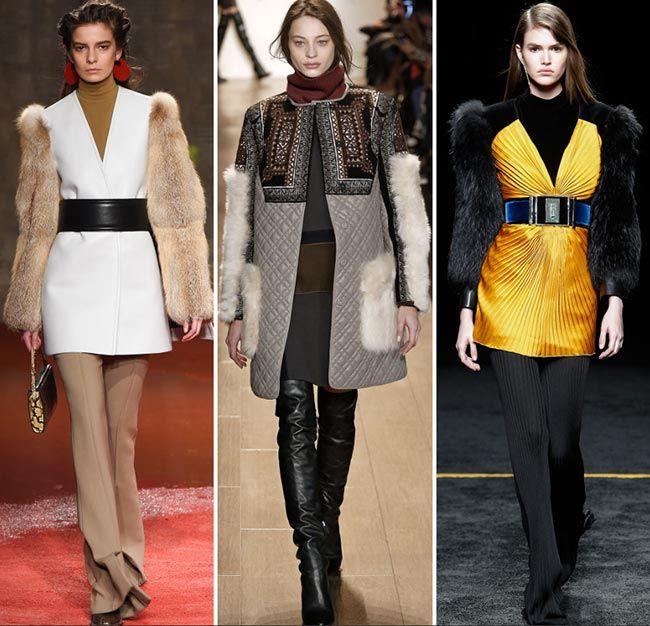 Пальто с меховыми карманами и рукавами