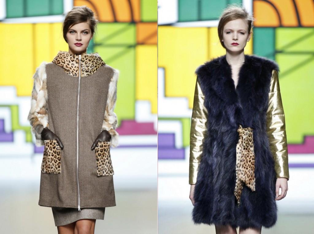 Меховые пальто с комбинацией других материалов