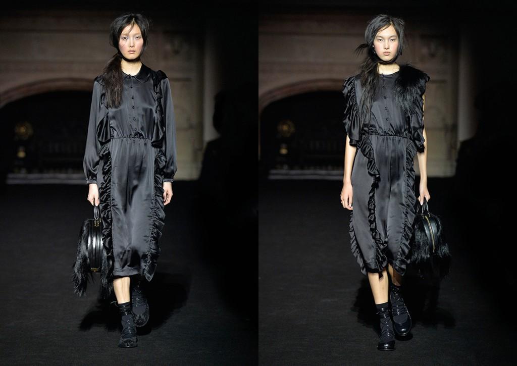 Меховая черная сумка Simone Rocha