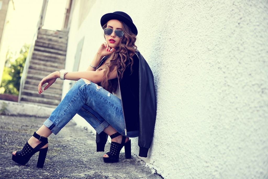 Туфли с джинсами бойфрендами