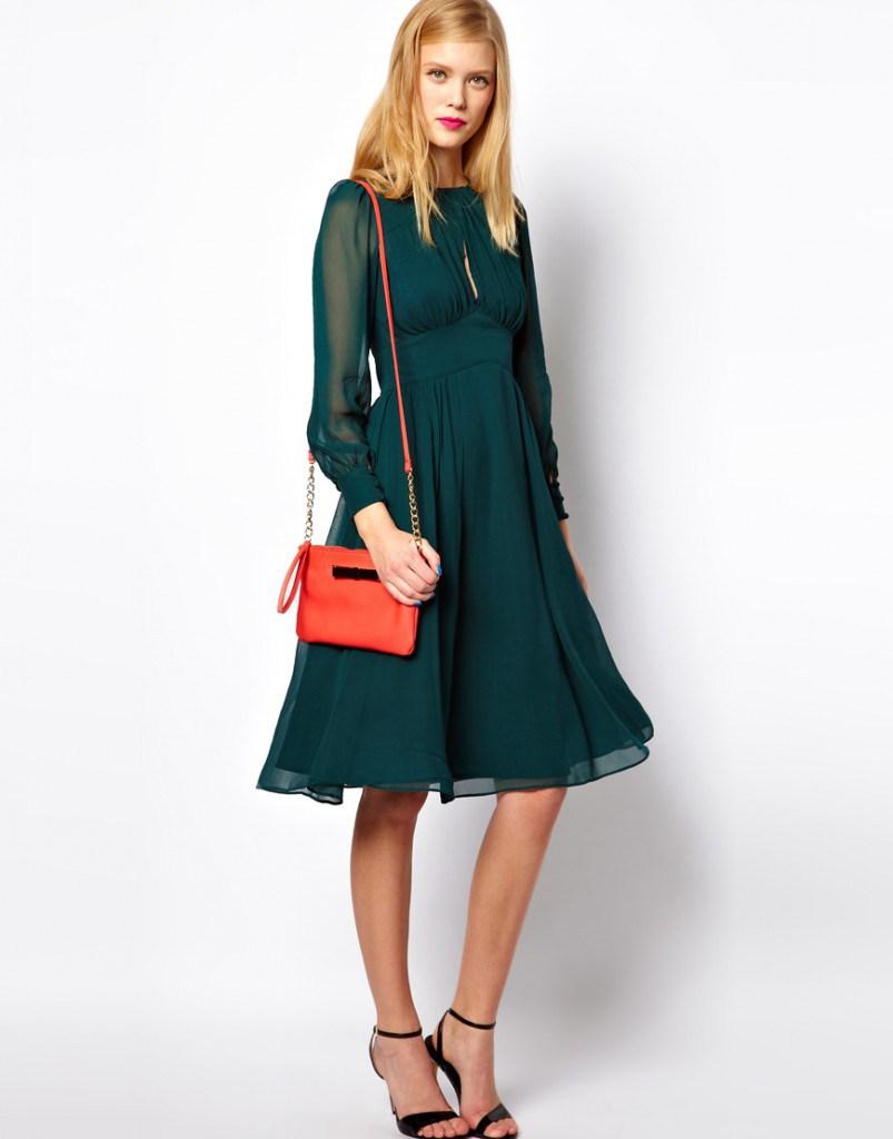 Зеленое платье в стиле 70-х