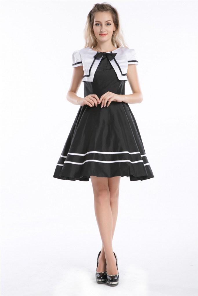Черно-белое платье в ретро-стиле