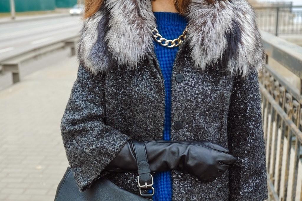 Кожаные перчатки до локтя с пальто