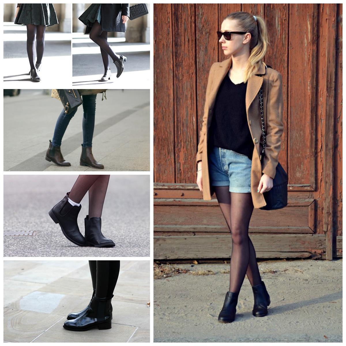 Ботинки челси женские болотного или черного цвета на