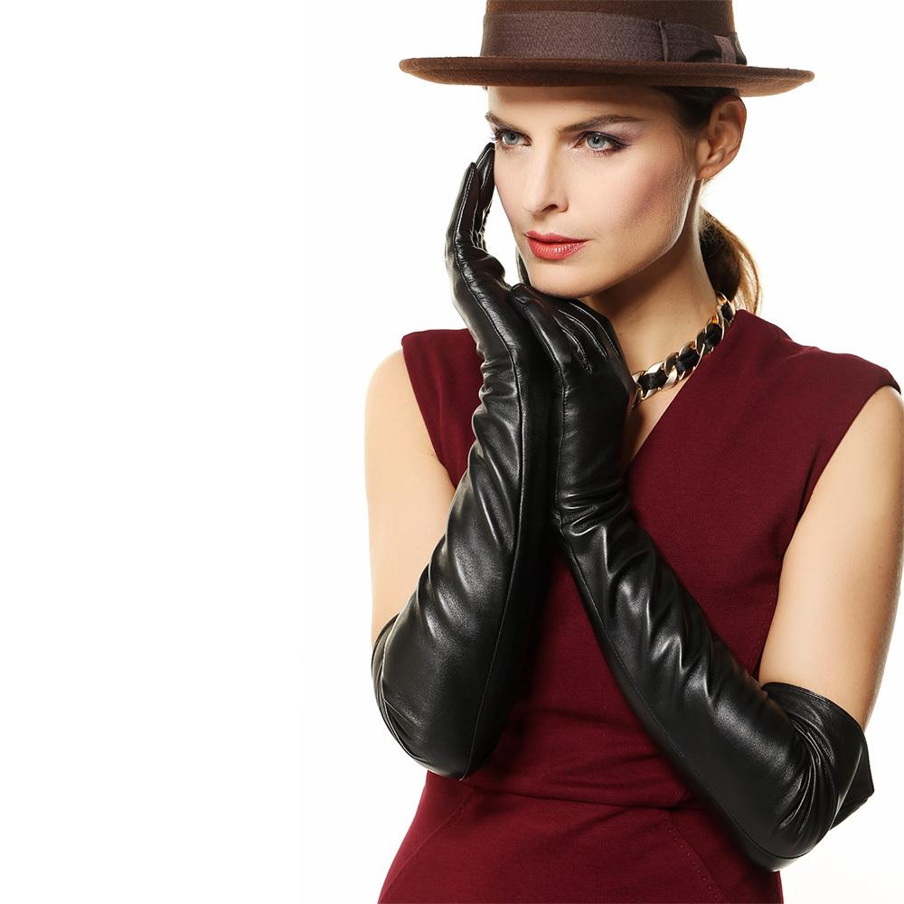 Длинные черные кожаные перчатки