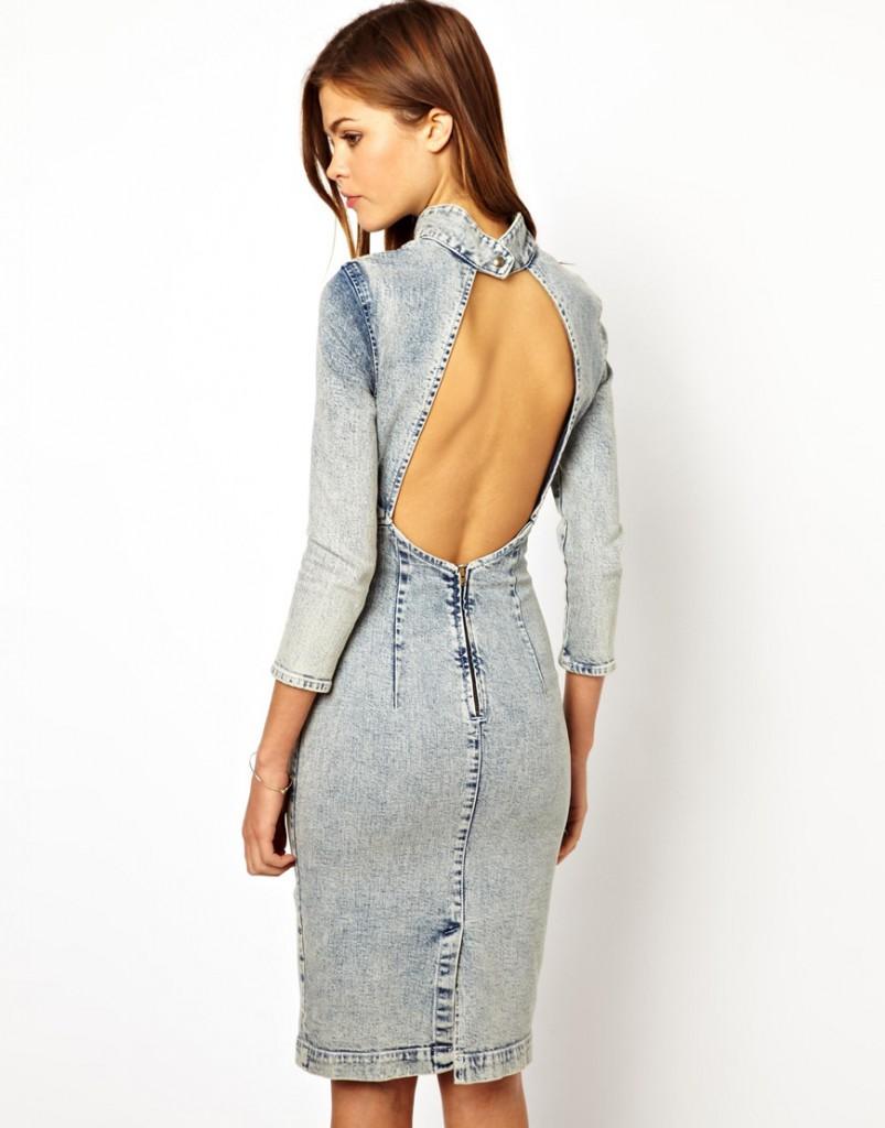 Джинсовое платье с открытой спиной
