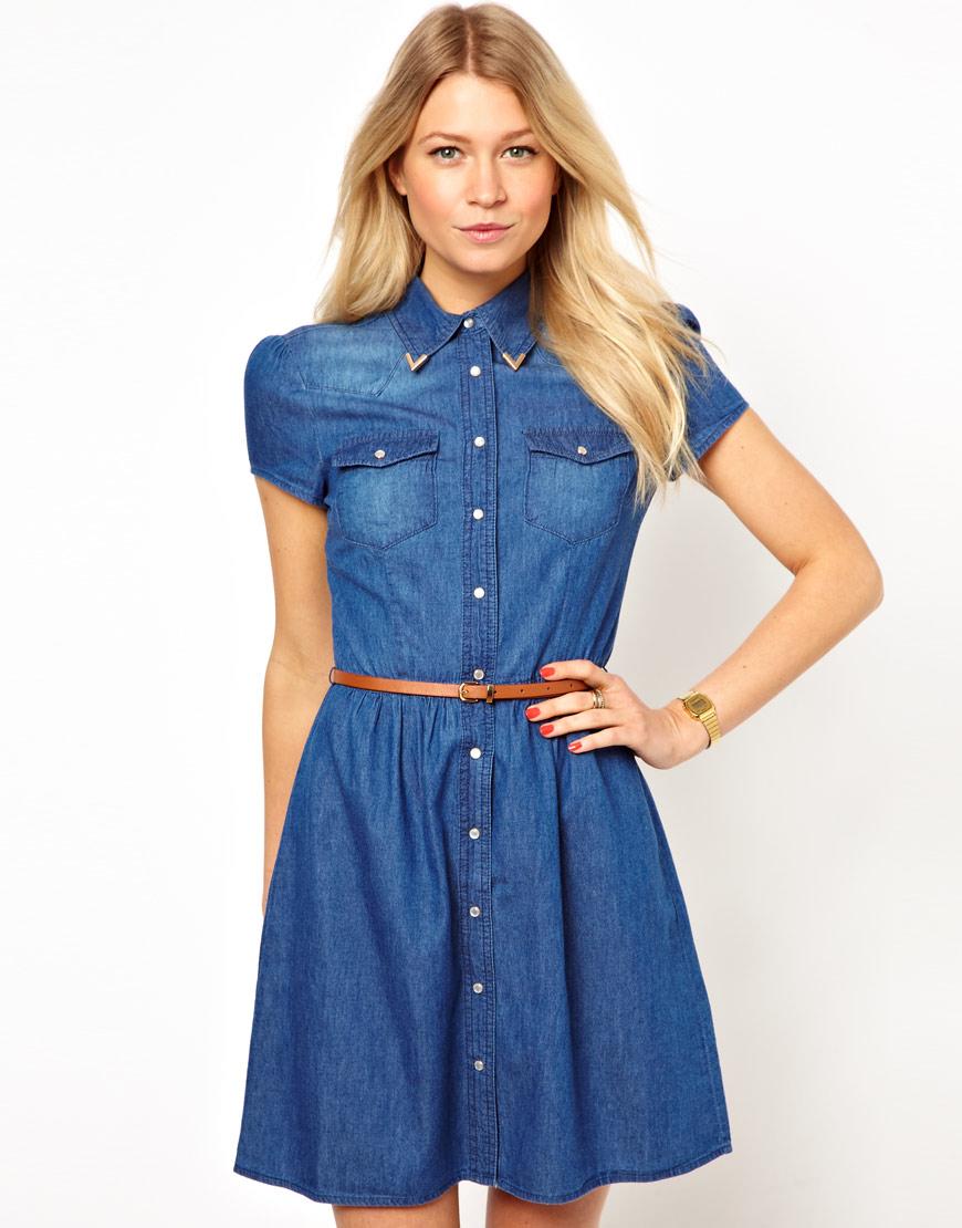 Джинсовое платье с коротким рукавом с чем носить