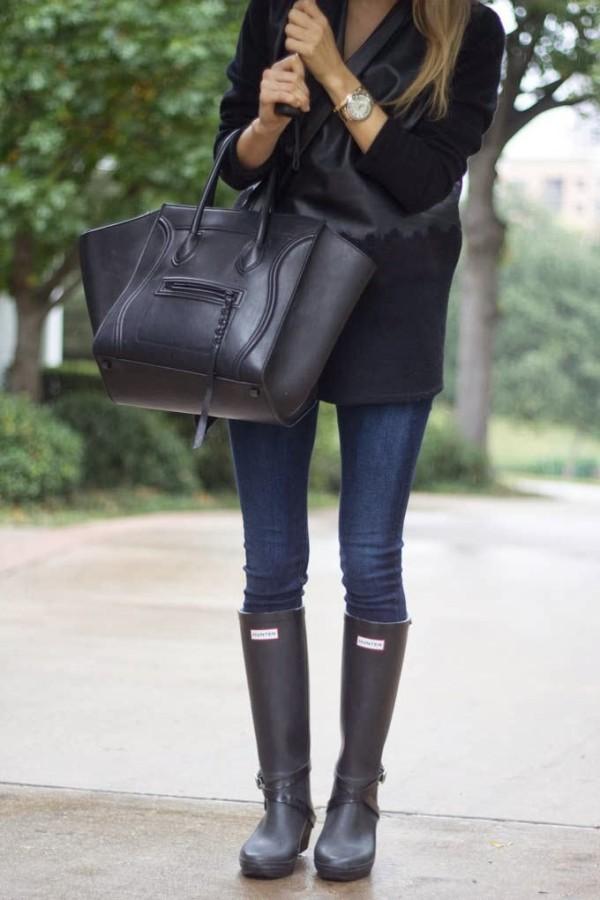 Резиновые сапоги с джинсами