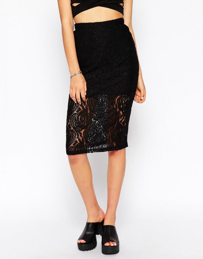 Кружевная черная юбка
