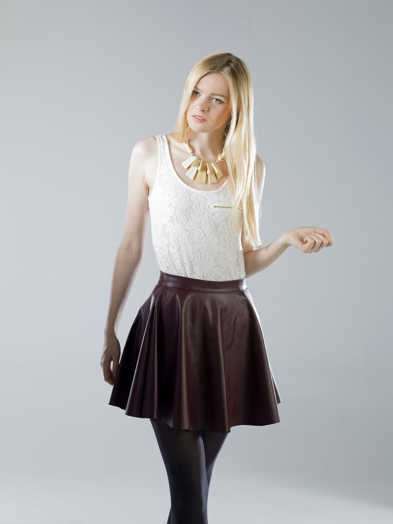 Кожаная юбка с топом