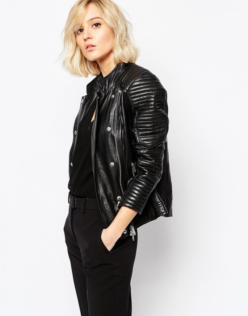 Кожаная куртка в стиле минимализм