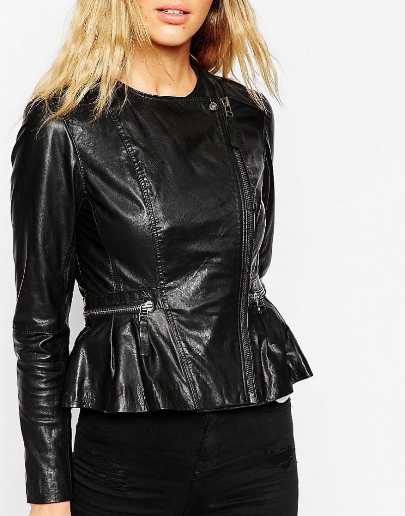 Стильная кожаная куртка с баской