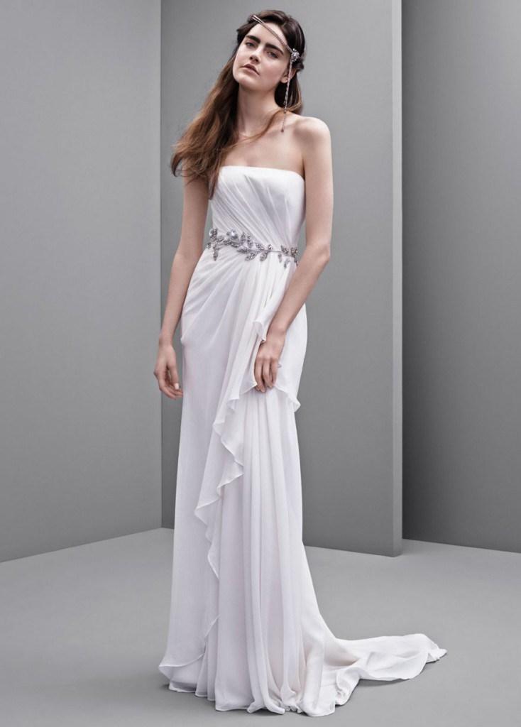 Многослойное свадебное платье в греческом стиле с поясом