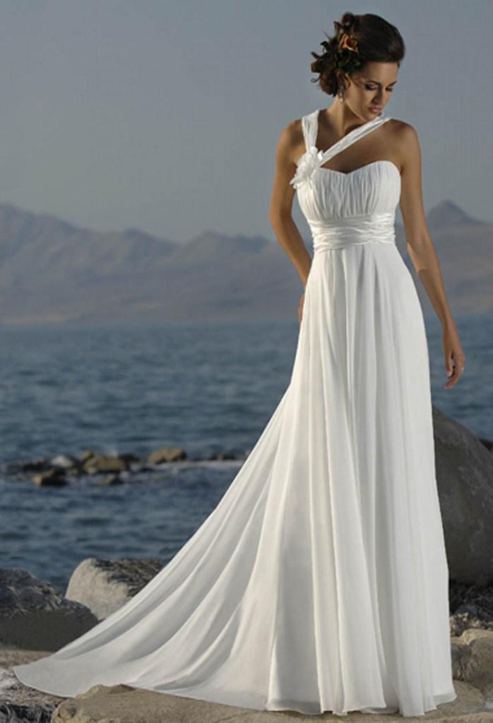 Длинное свадебное платье в греческом стиле со шлейфом