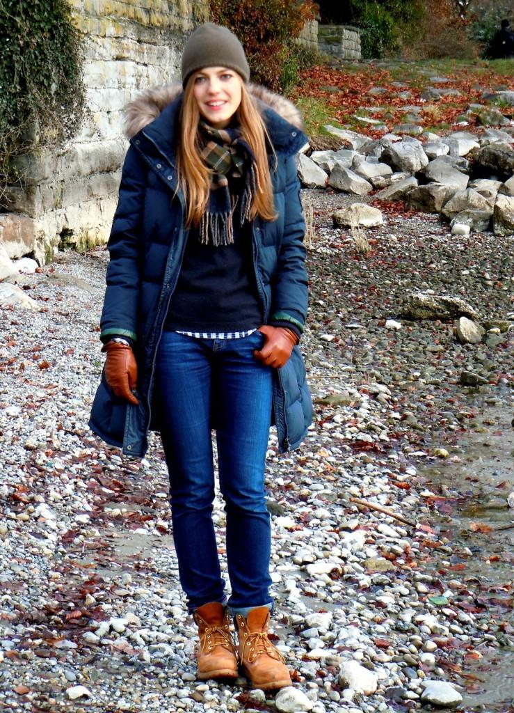 Женские тимберленды с пуховиком