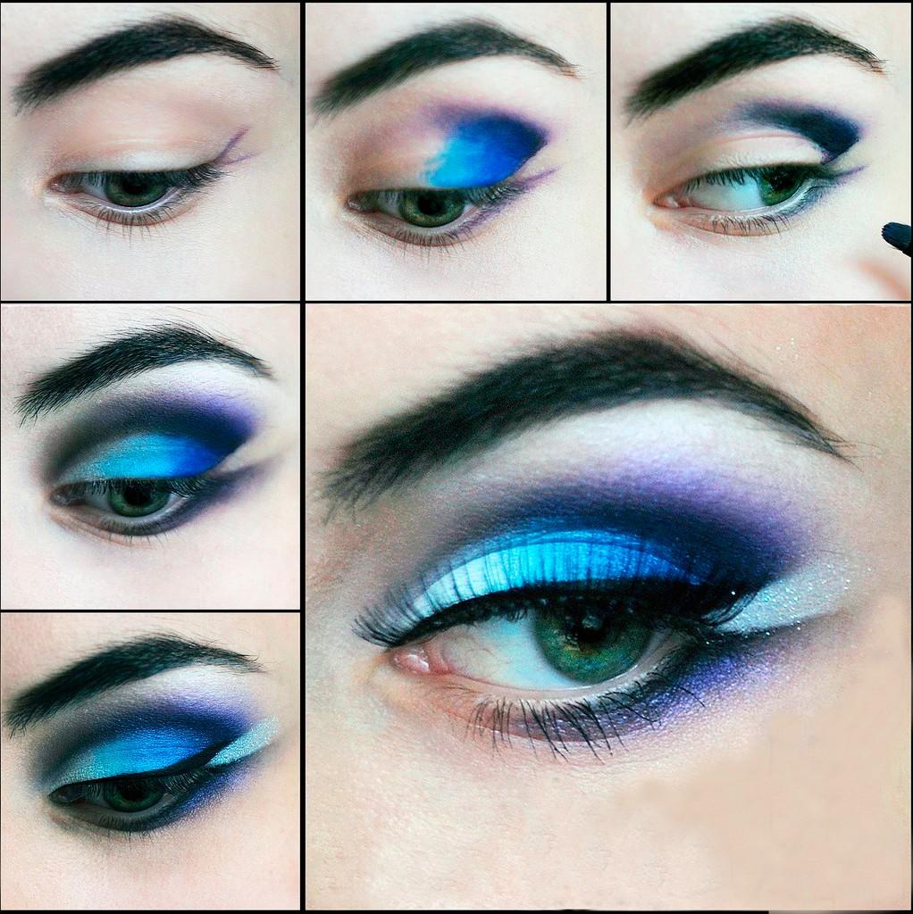 Бело синий макияж