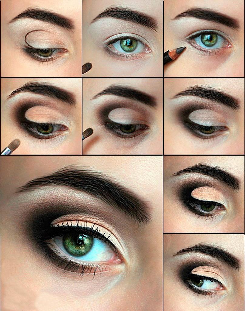 Этапы нанесеняи  макияжа для зеленых глаз