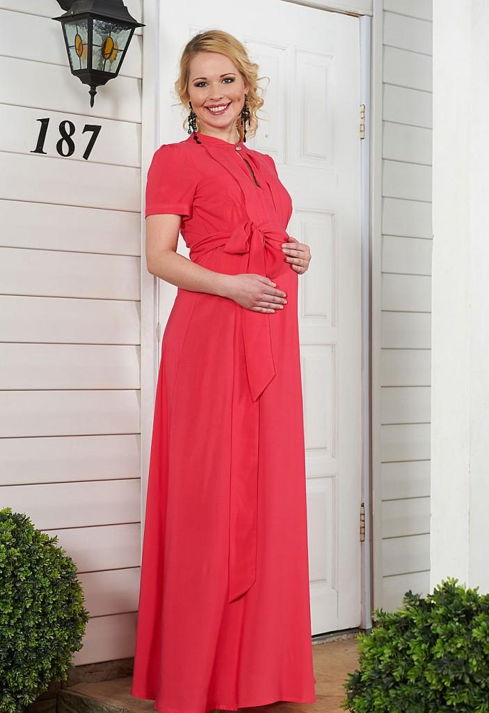 Вечернее розовое платье для беременных