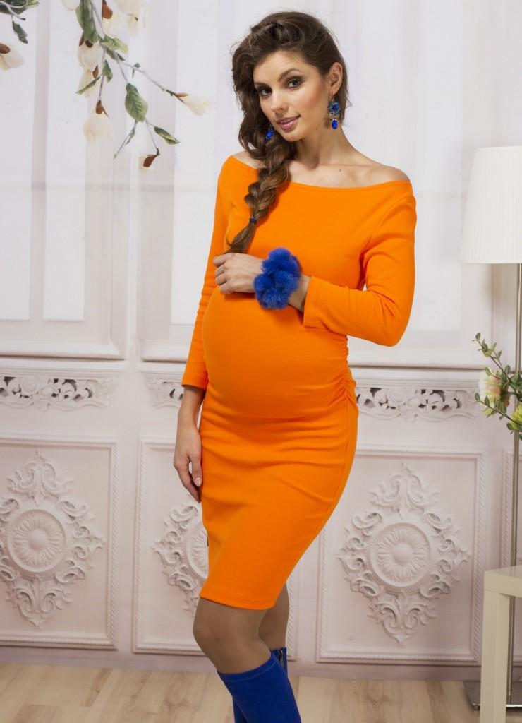 Оранжевое платье для беременных