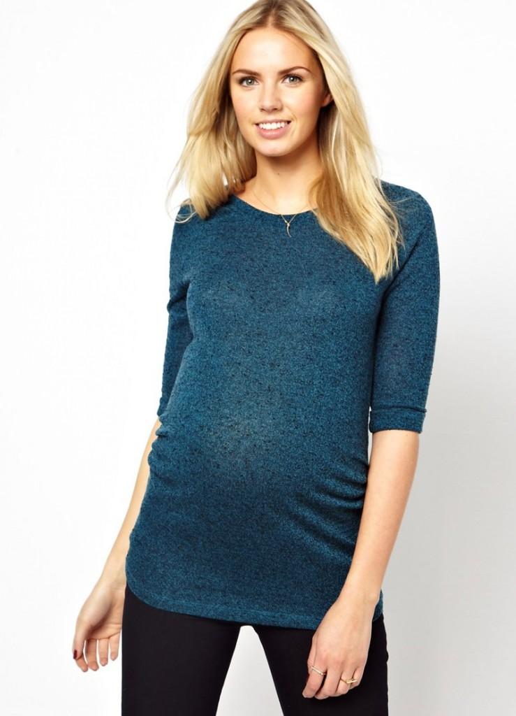 Красивая синяя кофта для беременных