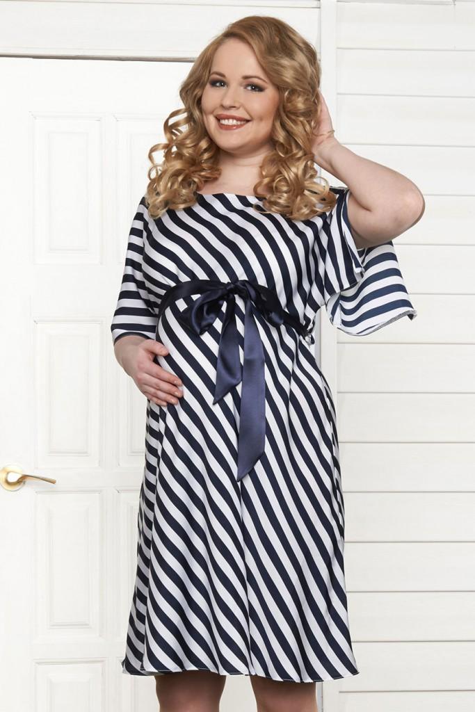 Свободное полосатое платье для беременных