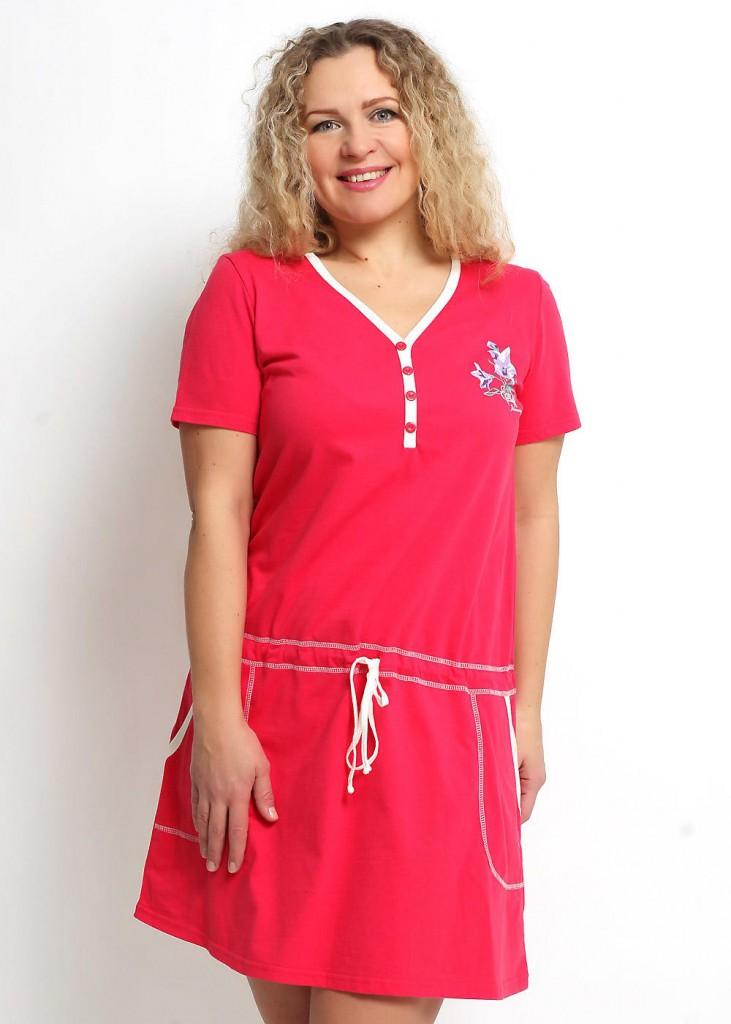 Модное домашнее ярко розовое платье