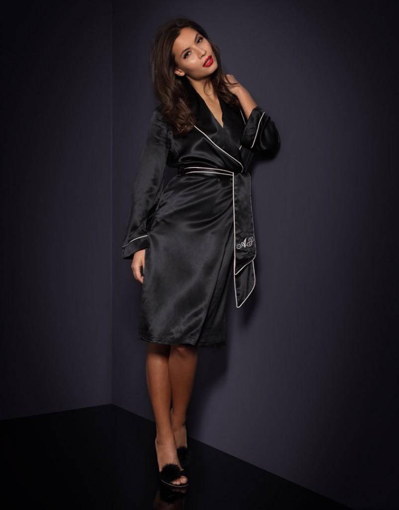 Модный домашний черный шелковый халат