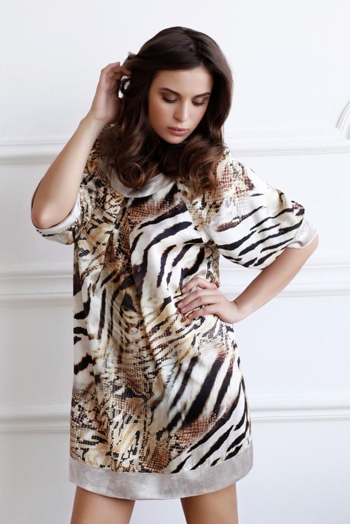 Модное домашнее платье с тигровым принтом