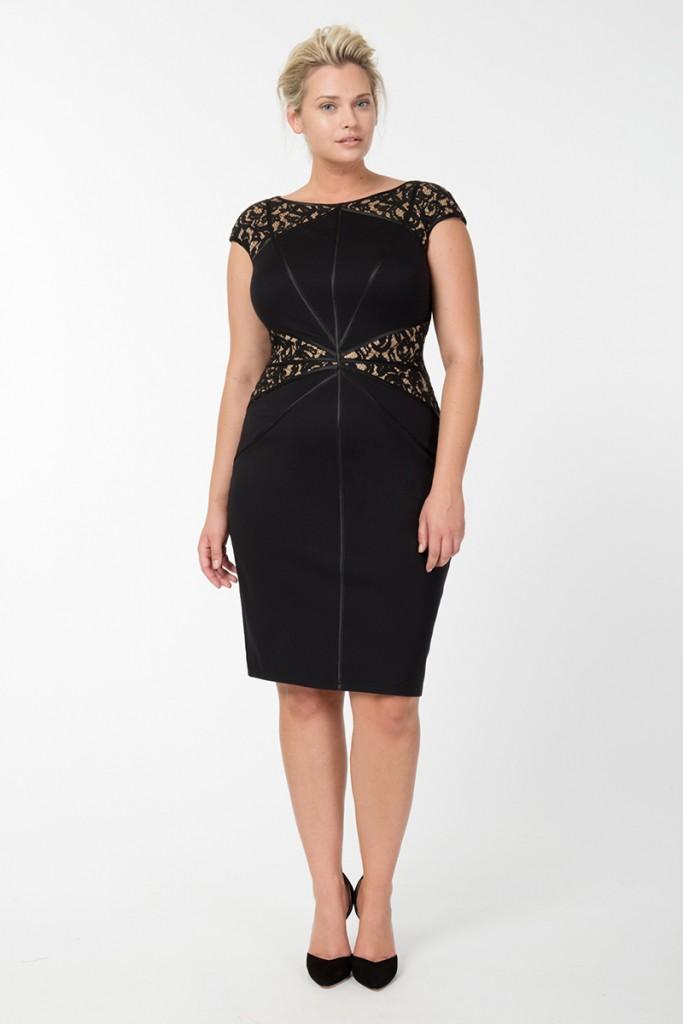 Черные офисные гипюровые платья для полных дам