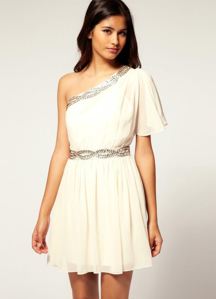 Короткое свадебное платье в греческом стиле