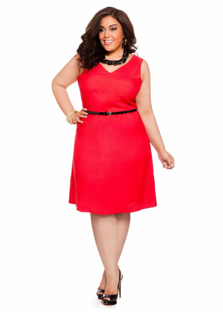 Красное платье для полной женщины
