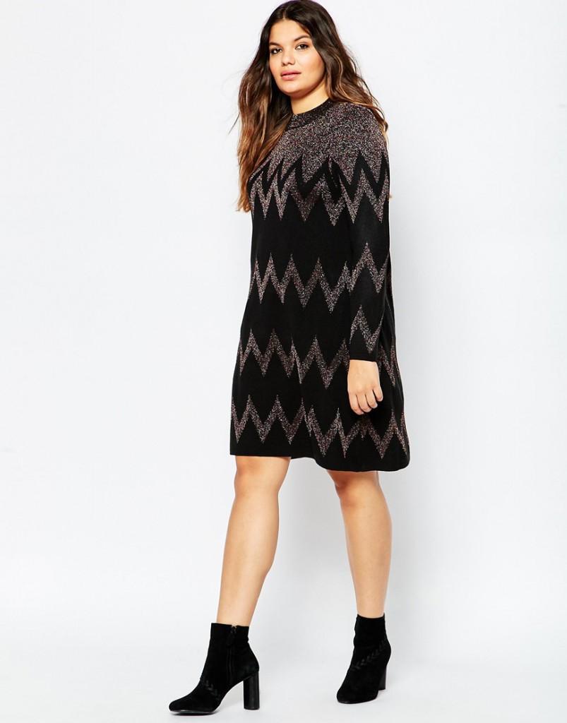 Черно-серое платье для полной девушки