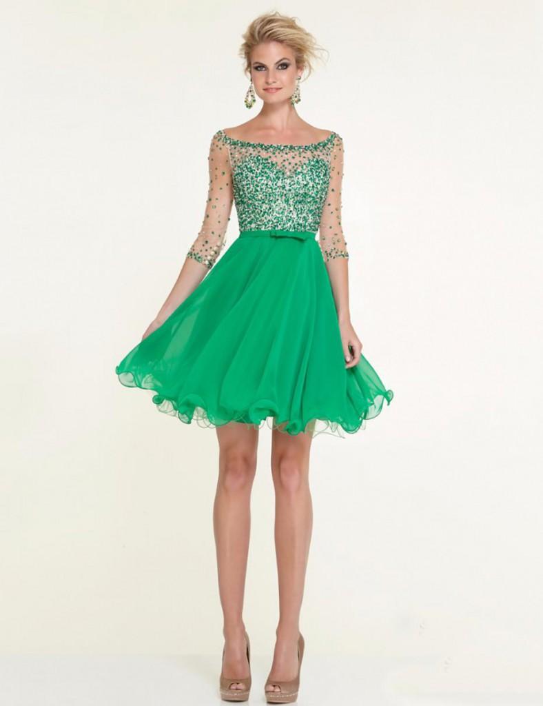 Зеленое коктейльное платье с юбкой солнце