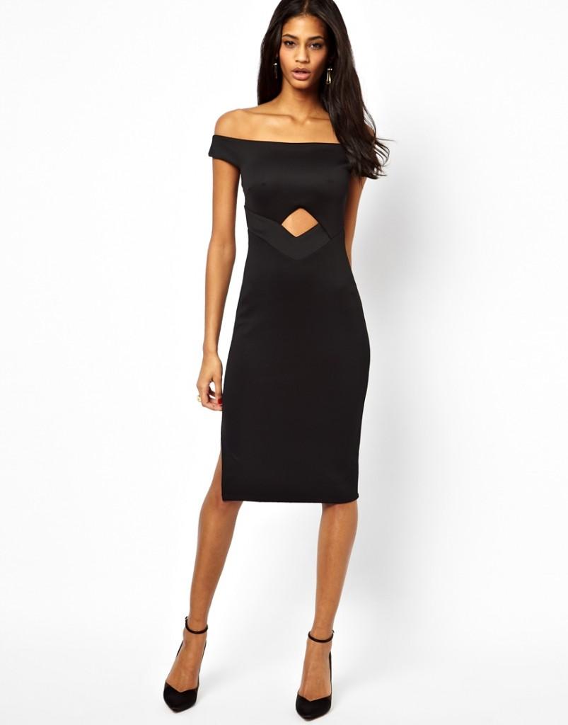 Черное платье футляр с открытыми плечами