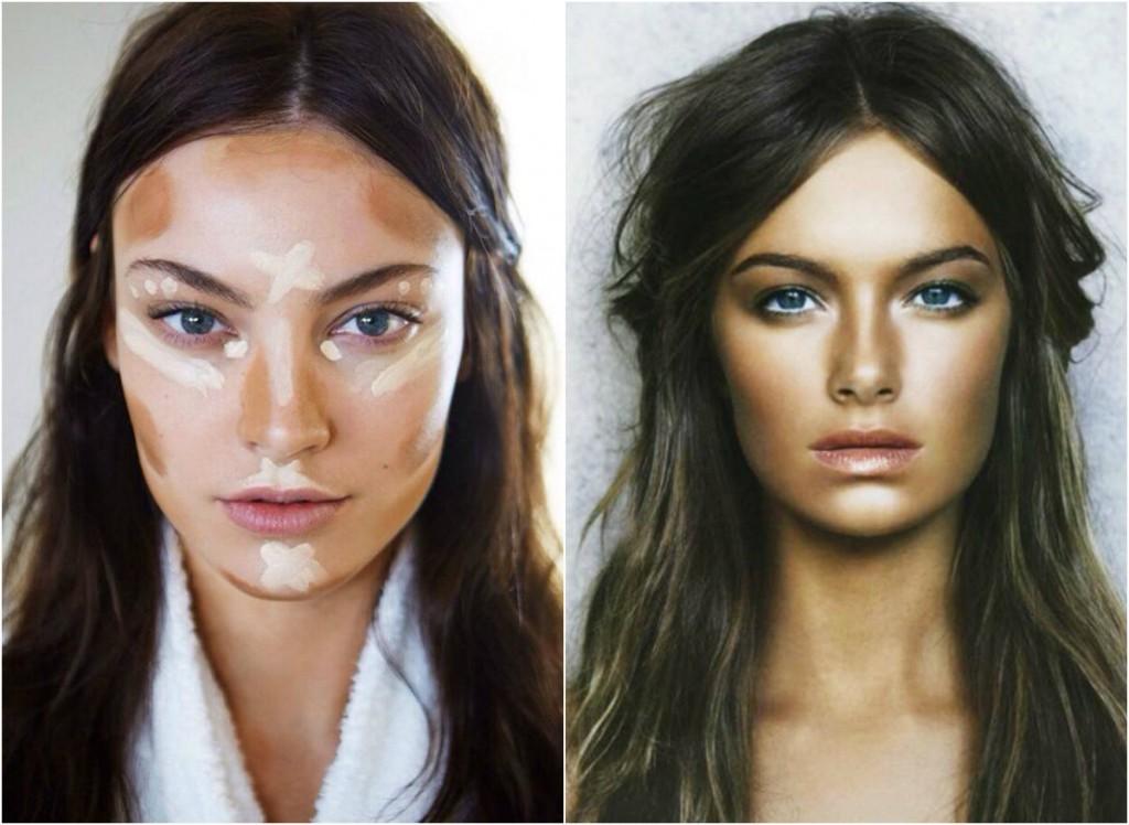 Макияж с использованием моделирования лица