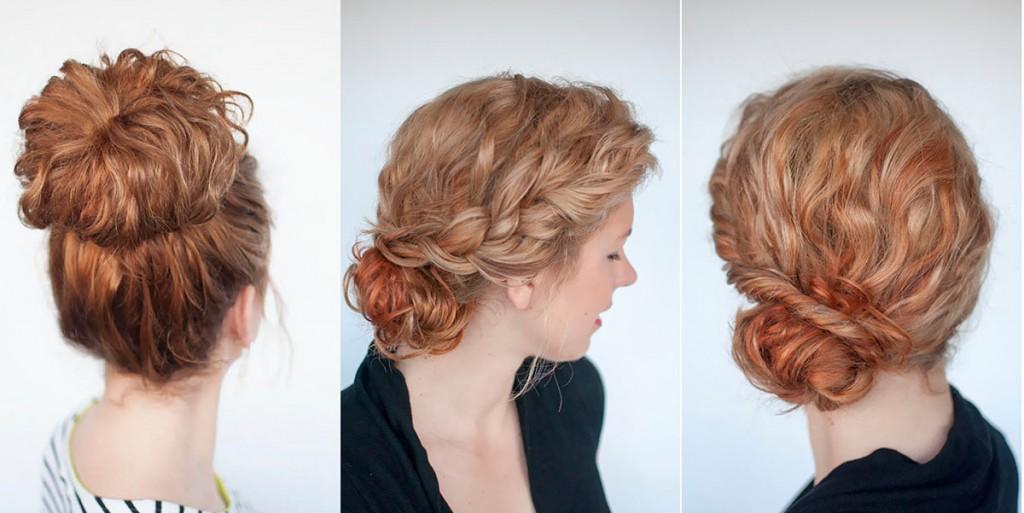 Прически для вьющихся волос средней длины