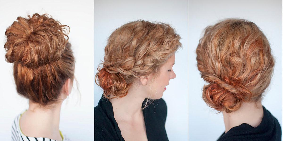 Пучок из вьющихся волос фото
