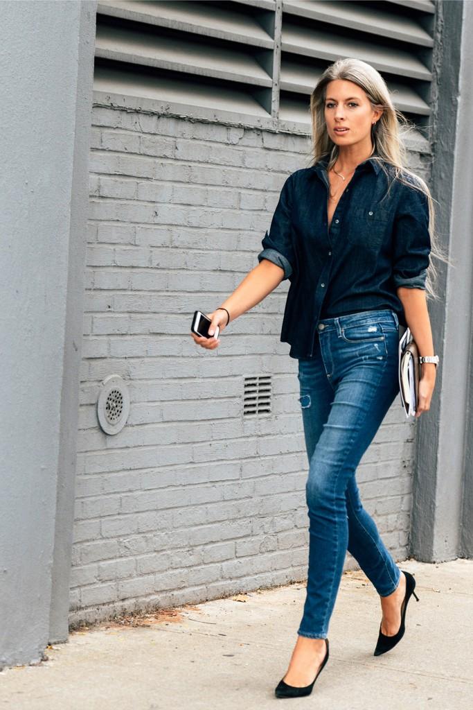 Джинсовая рубашка с джинсами из денима