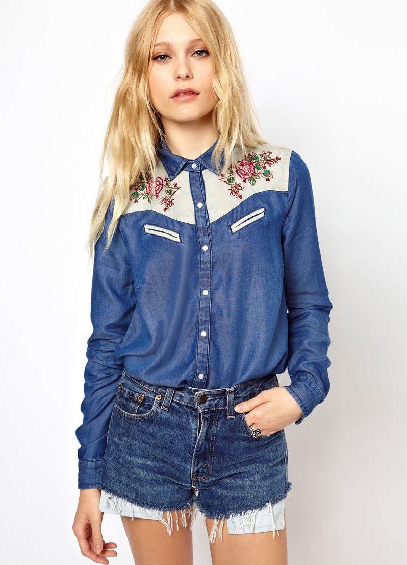 Модные джинсовые рубашки