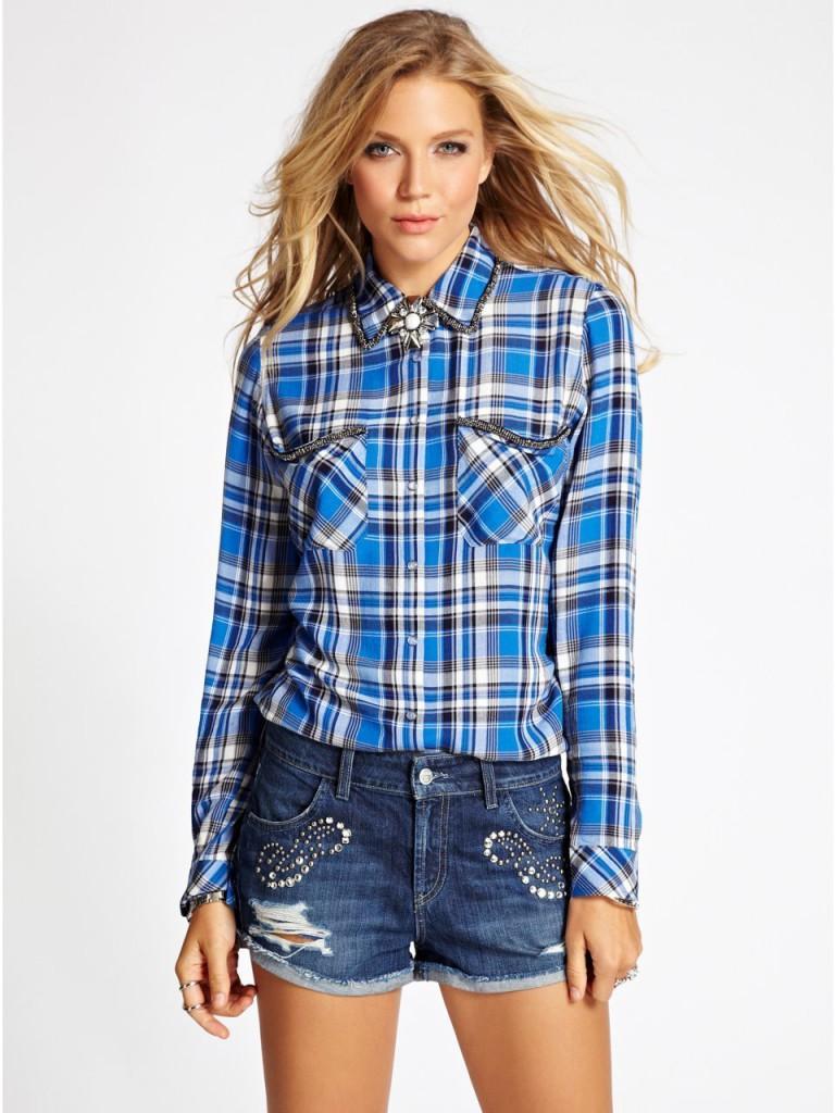 Джинсовая рубашка с шортами из денима