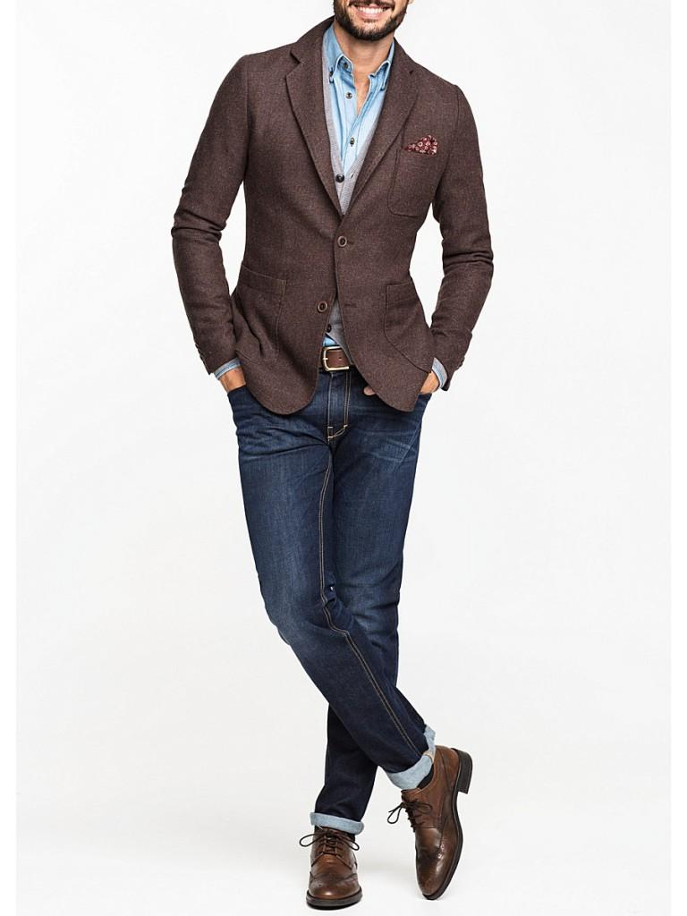 Коричневый трикотажный мужской пиджак