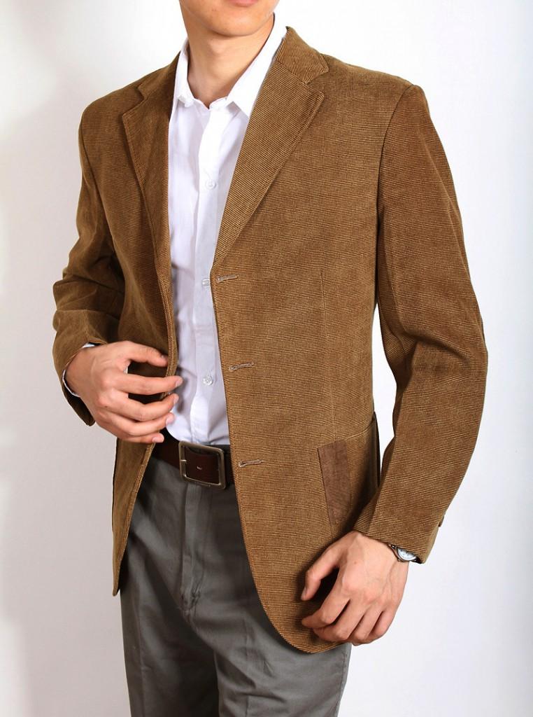 Коричневый вельветовый мужской пиджак