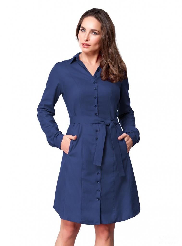 Синее платье-рубашка