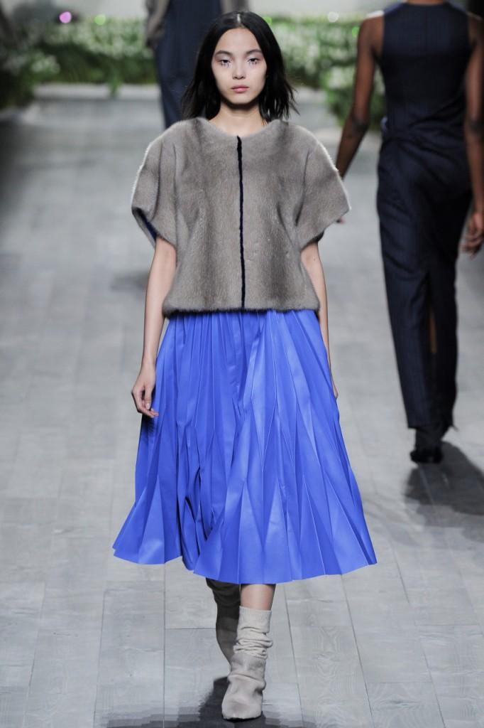 Синяя юбка с шубой
