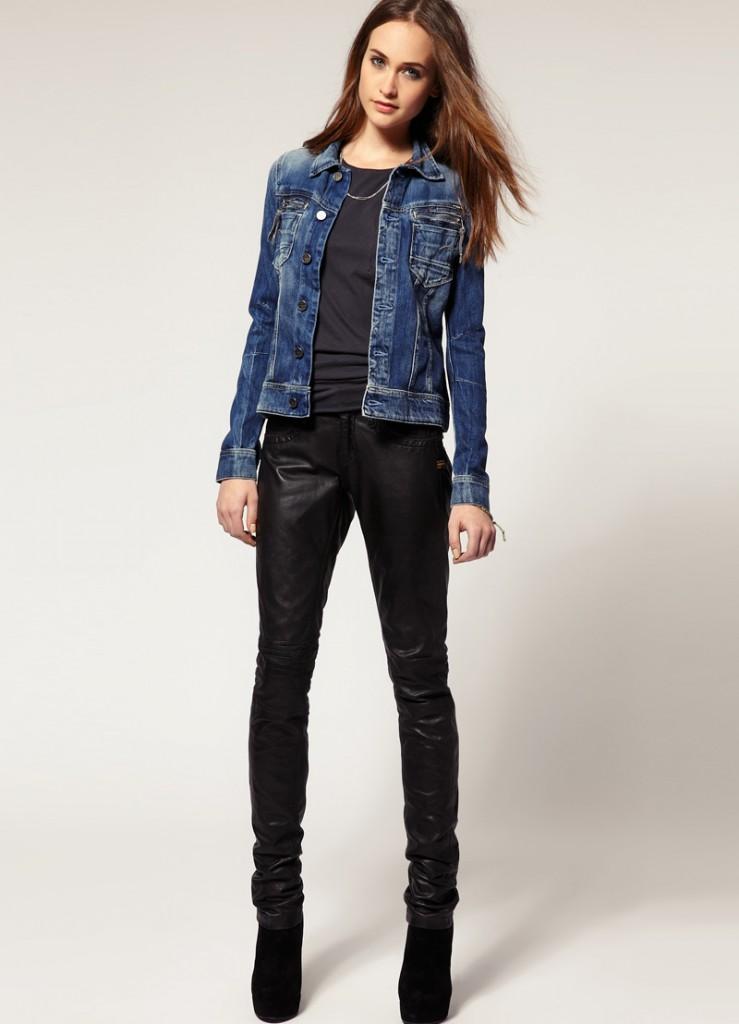 Кожаные женские черные брюки