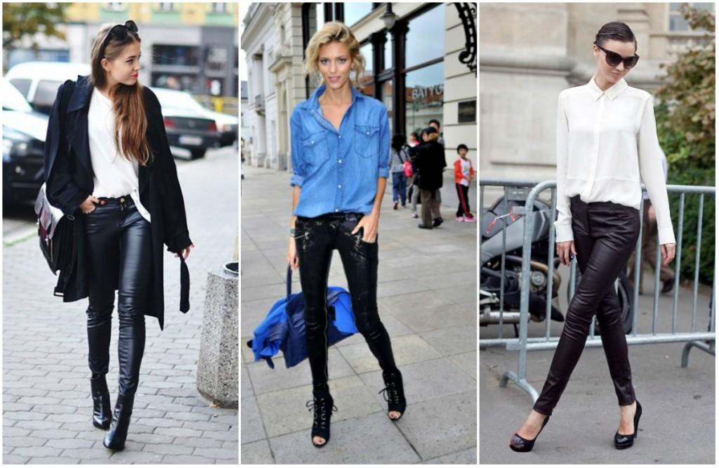 Женские кожаные брюки с модным верхом
