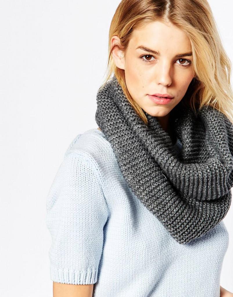 Серый шарф-снуд